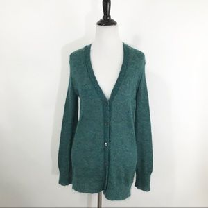 J CREW KID MOHAIR CARDIGAN SHEER KNIT GREEN XS